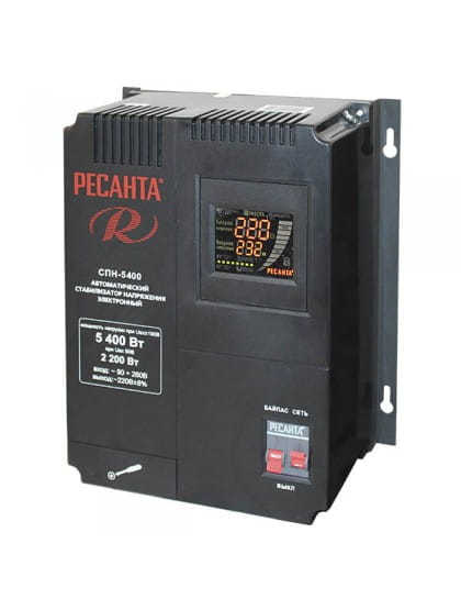 Однофазный цифровой стабилизатор пониженного напряжения Ресанта СПН-5400