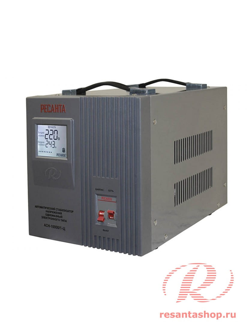Однофазный стабилизатор напряжения электронного типа Ресанта АСН-10000/1-Ц